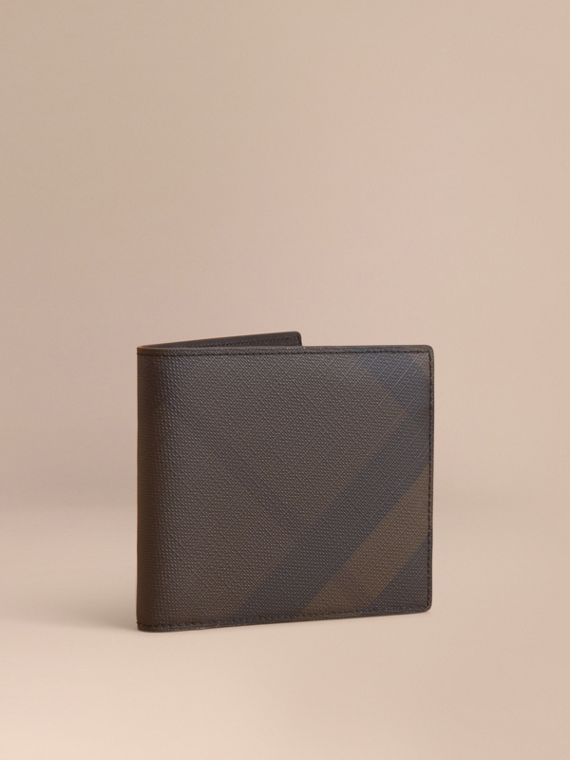 Portefeuille à rabat multidevise en tissu London check (Chocolat/noir) - Homme | Burberry
