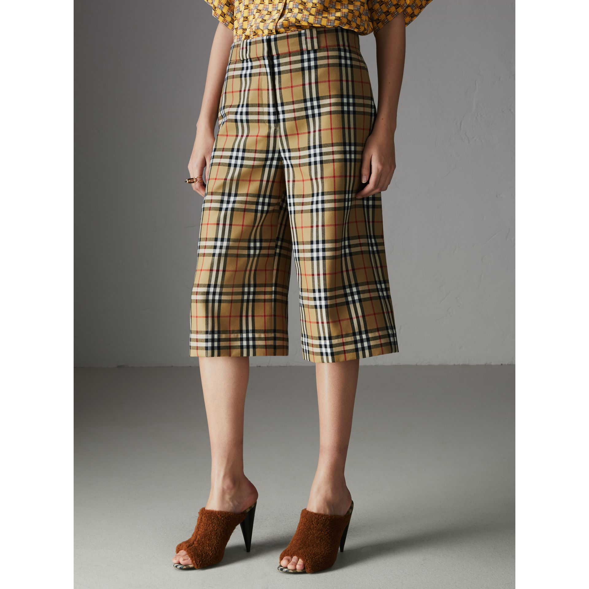 Vintage Check Wool Tailored Culottes in Antique Yellow - Women | Burberry Singapore - gallery image 4