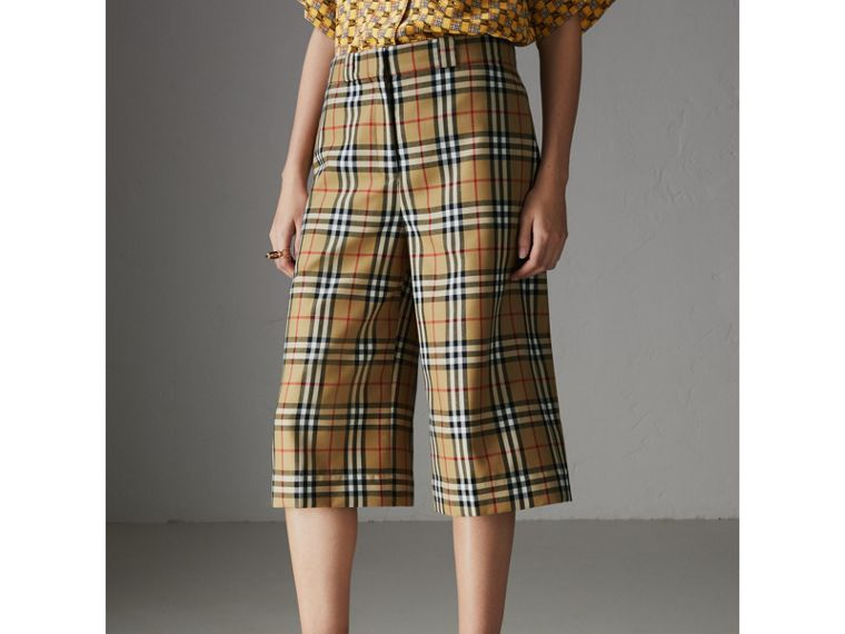 Vintage Check Wool Tailored Shorts in Antique Yellow - Women | Burberry - cell image 4