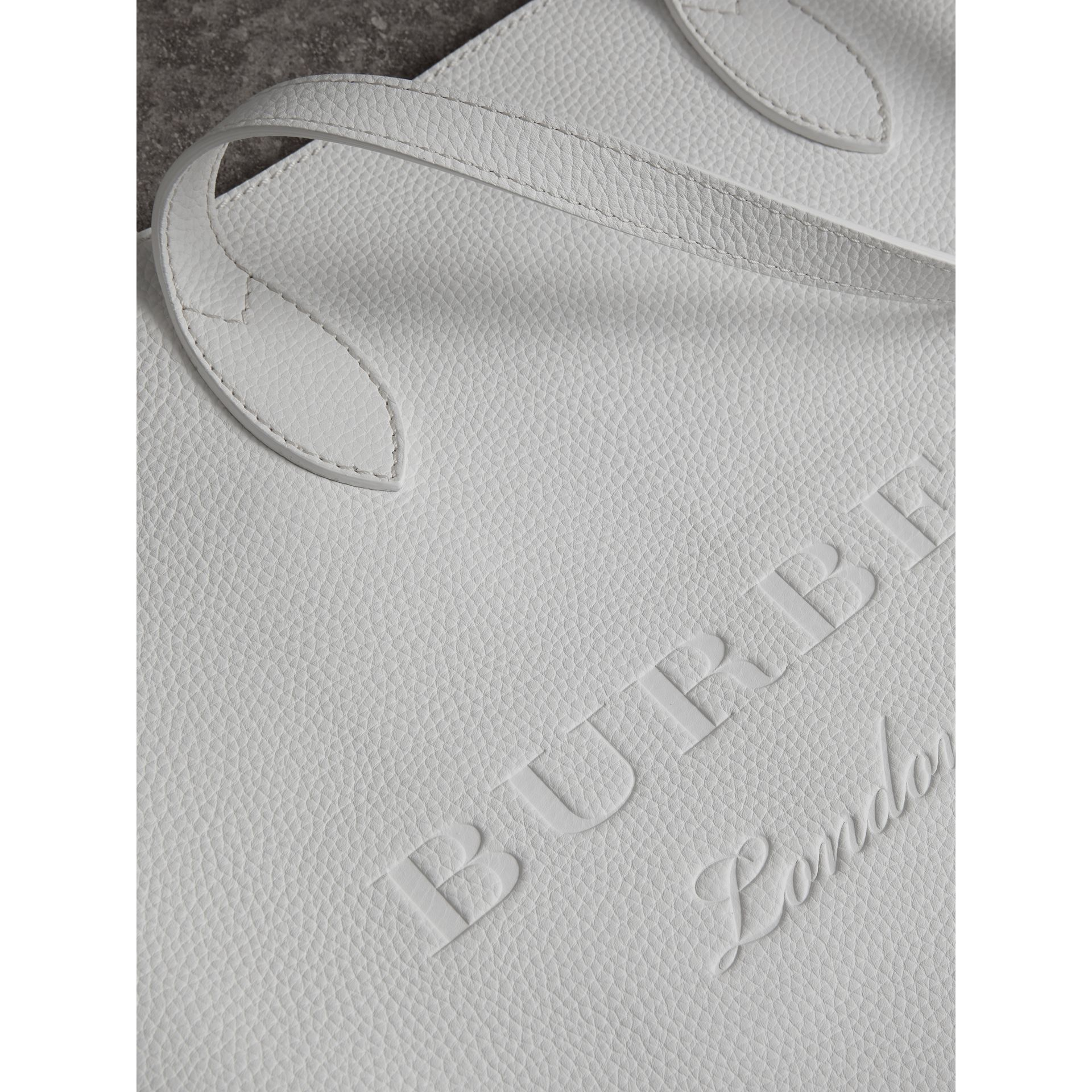 Medium Embossed Leather Tote in Chalk White | Burberry - gallery image 1