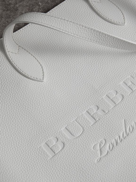 Embossed Leather Tote in Chalk White | Burberry - cell image 1