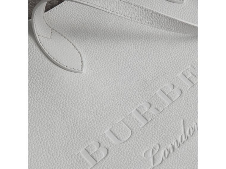 Medium Embossed Leather Tote in Chalk White | Burberry Singapore - cell image 1