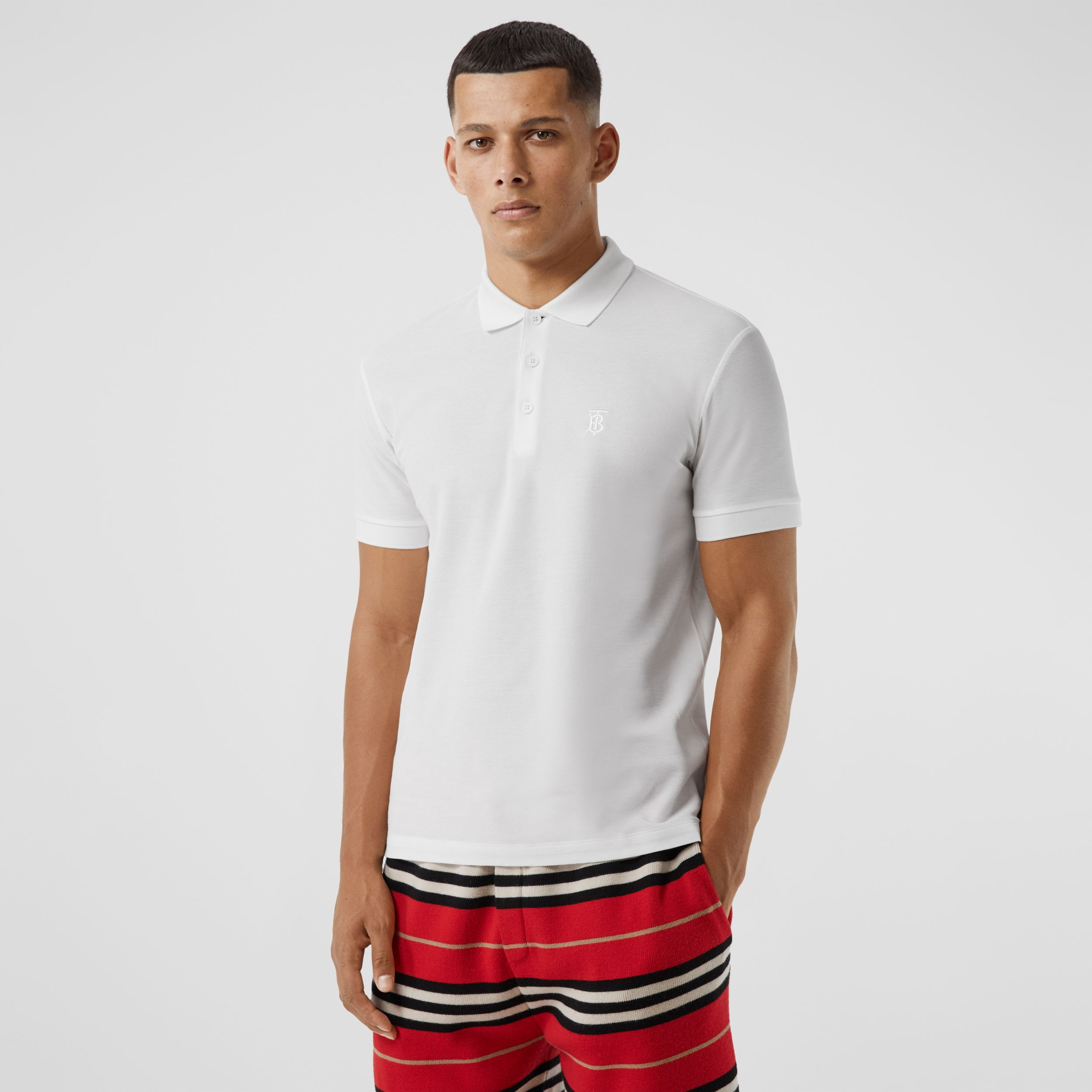 Monogram Motif Cotton Piqué Polo Shirt in White - Men | Burberry - 1