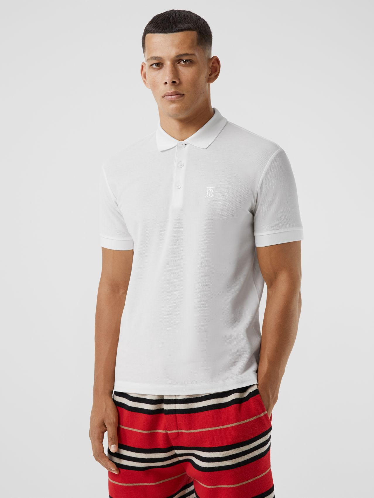 Monogram Motif Cotton Piqué Polo Shirt (White)