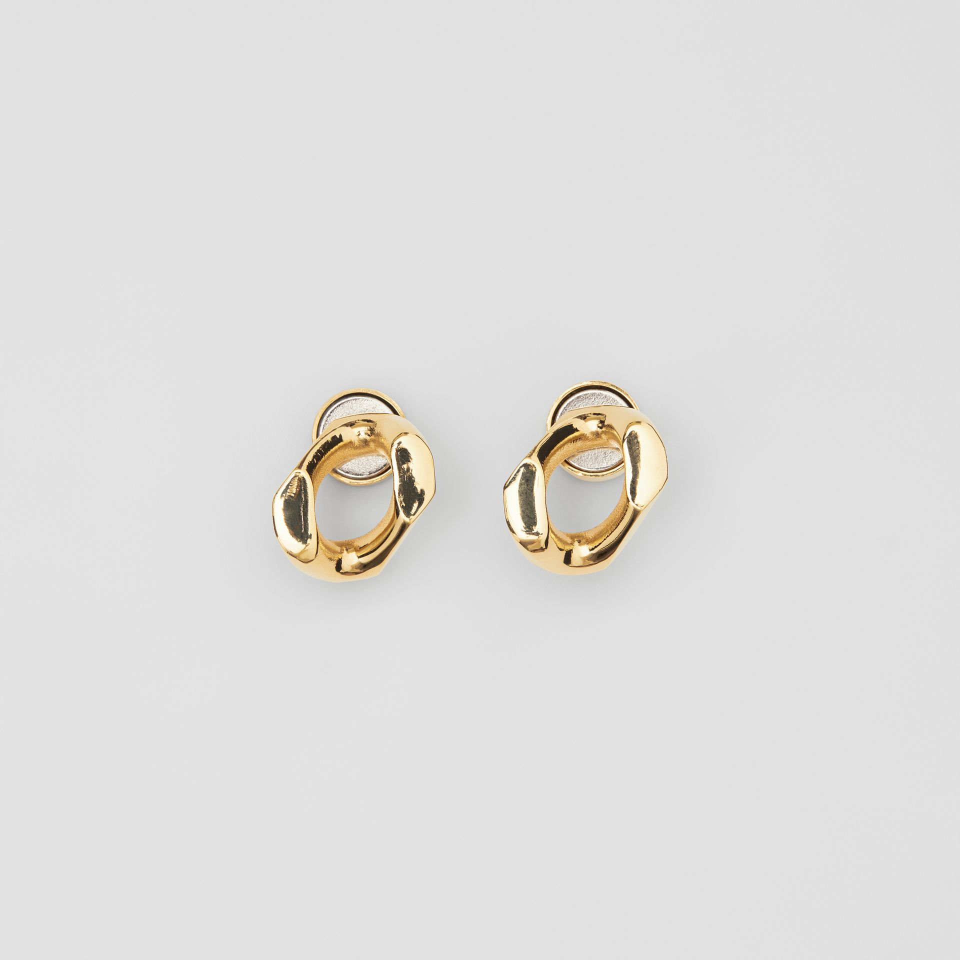 Small Gold-plated Chain Link Earrings in Light - Women | Burberry - gallery image 2