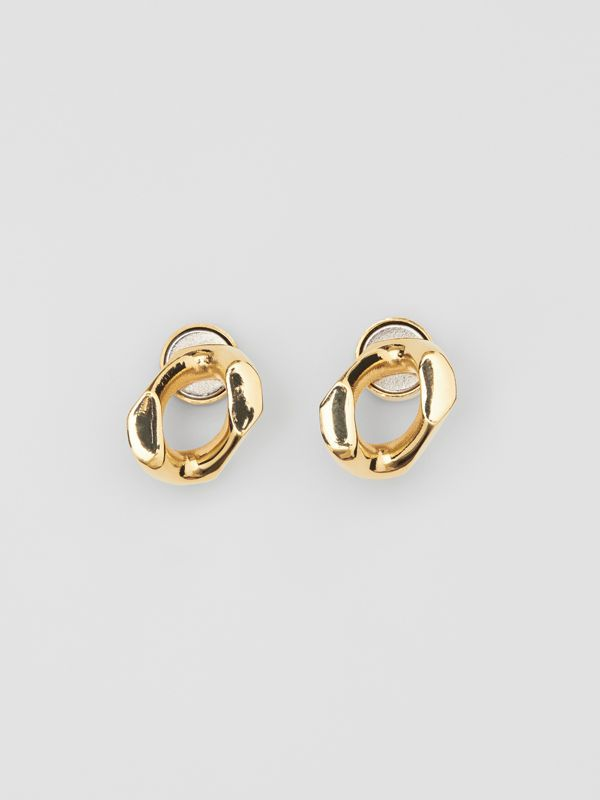 Small Gold-plated Chain Link Earrings in Light - Women | Burberry - cell image 2