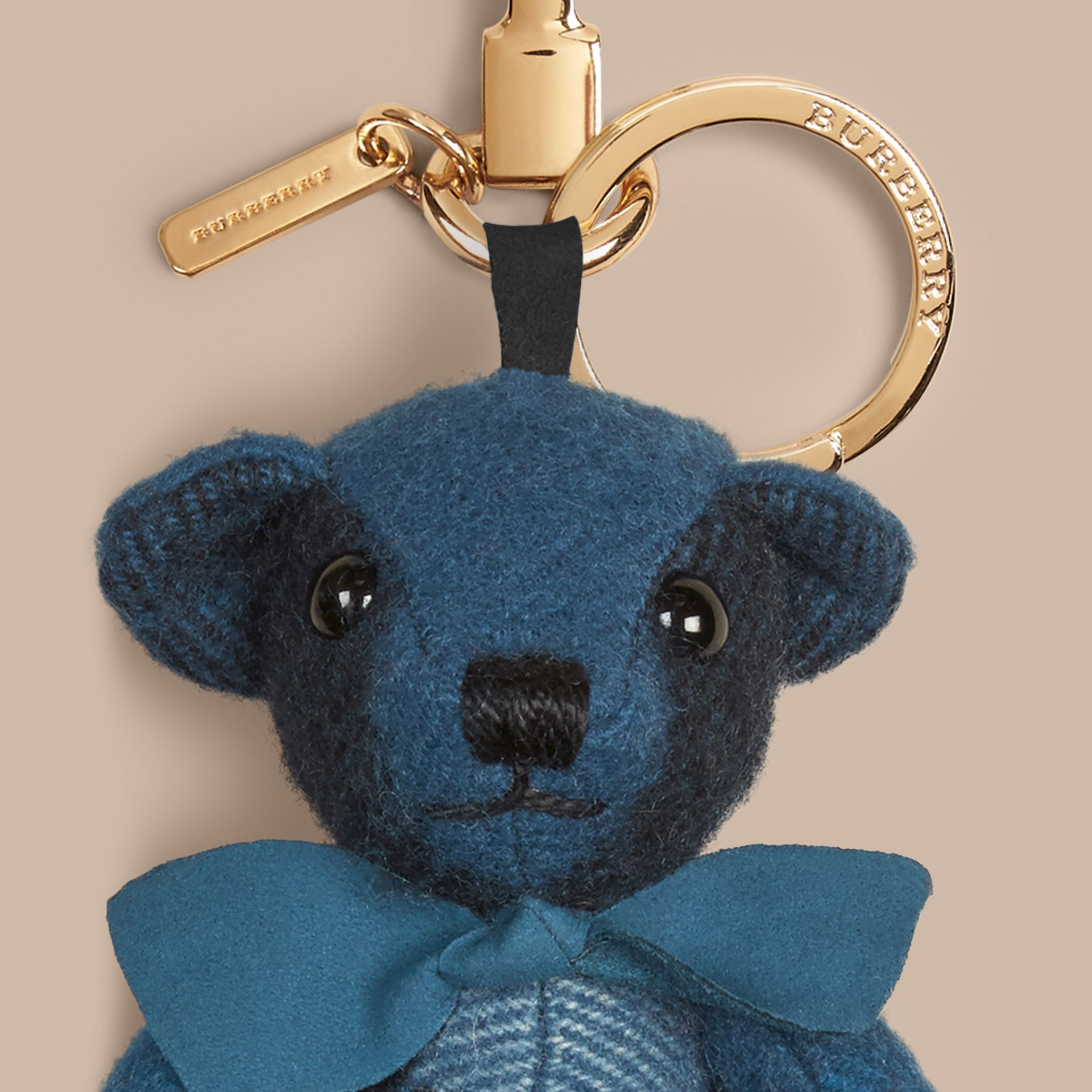 Thomas Bear Charm in Check Cashmere Dark Aqua - gallery image 2