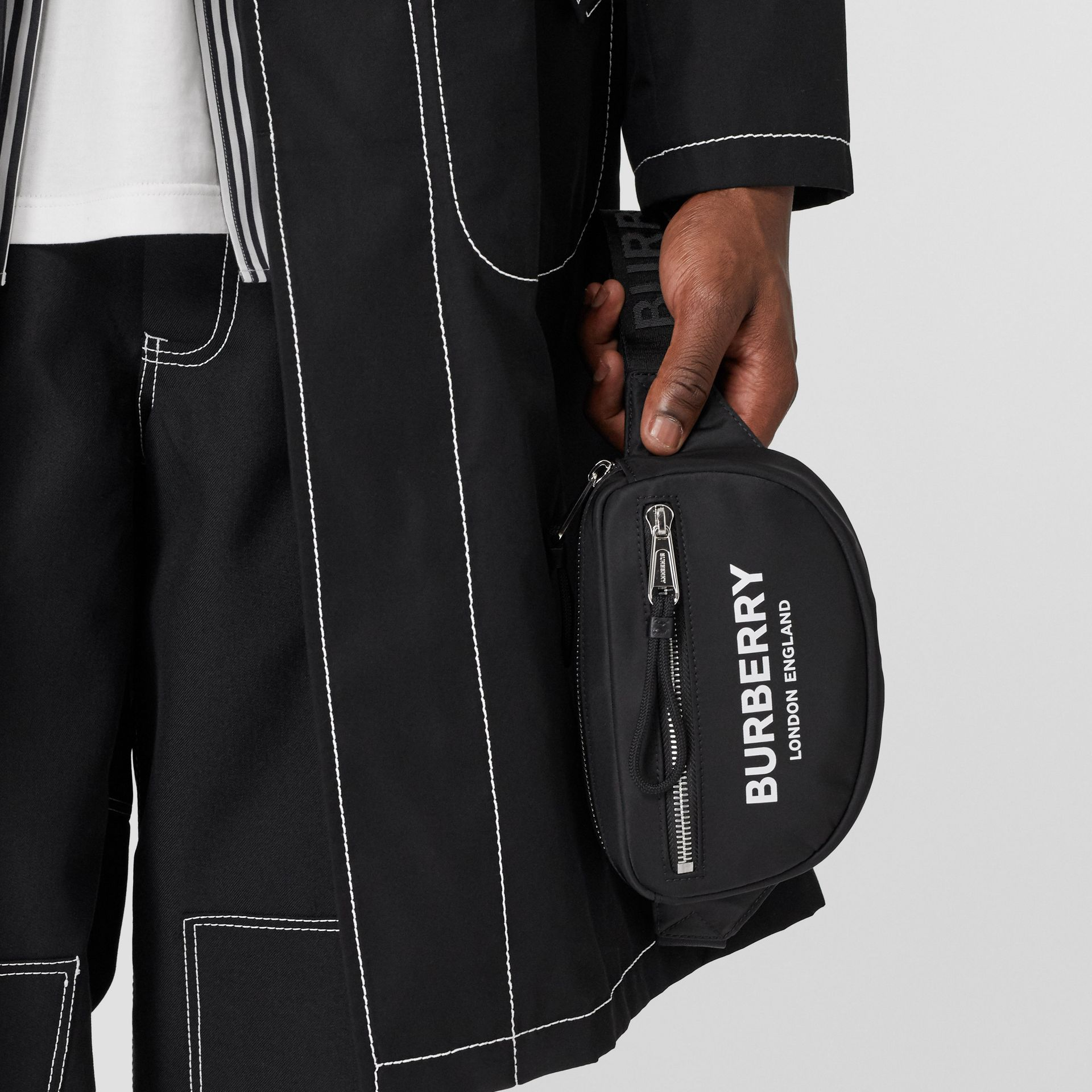 Mini Logo Print Bum Bag in Black | Burberry - gallery image 2