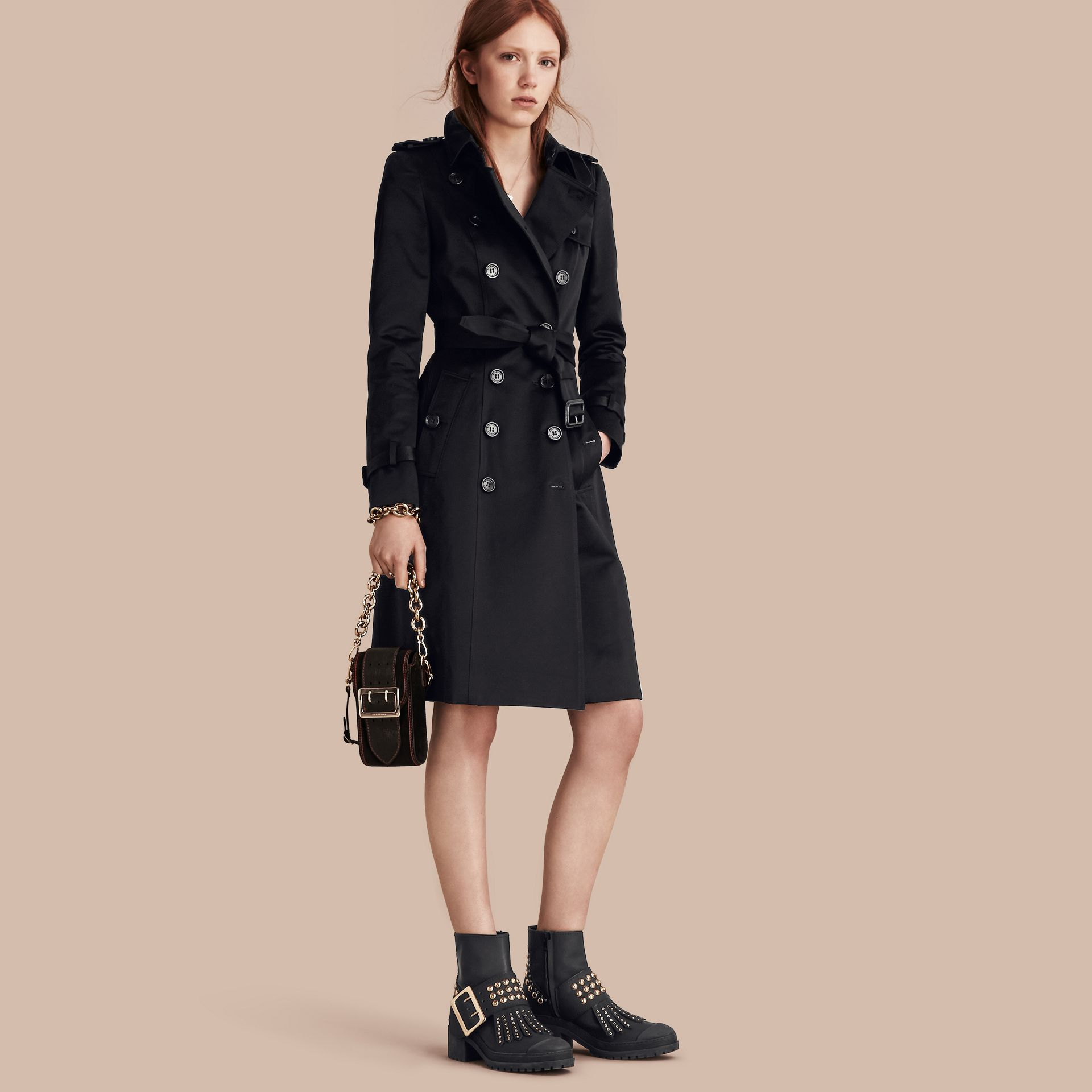 Black Cotton Sateen Trench Coat - gallery image 1