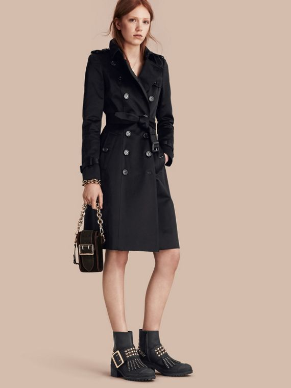 Cotton Sateen Trench Coat Black