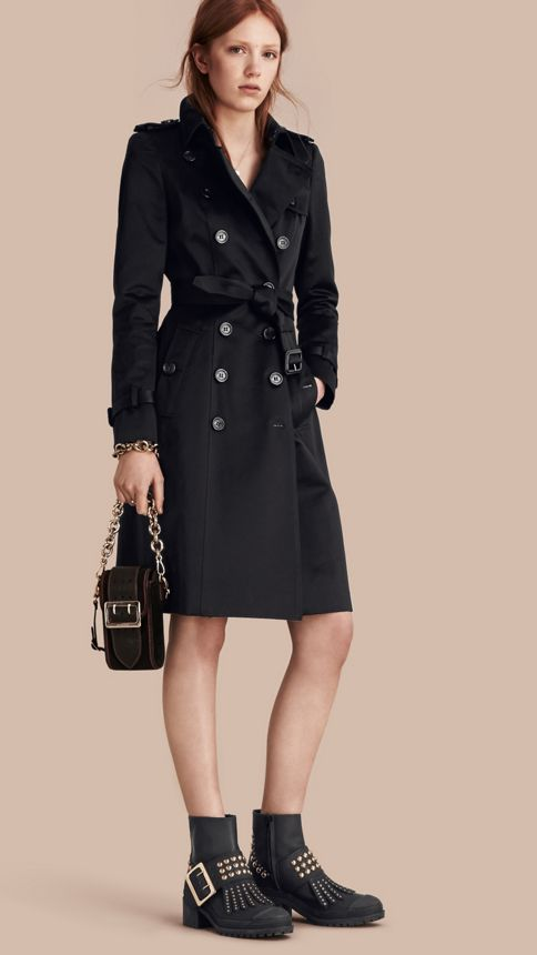 Black Cotton Sateen Trench Coat Black - Image 1
