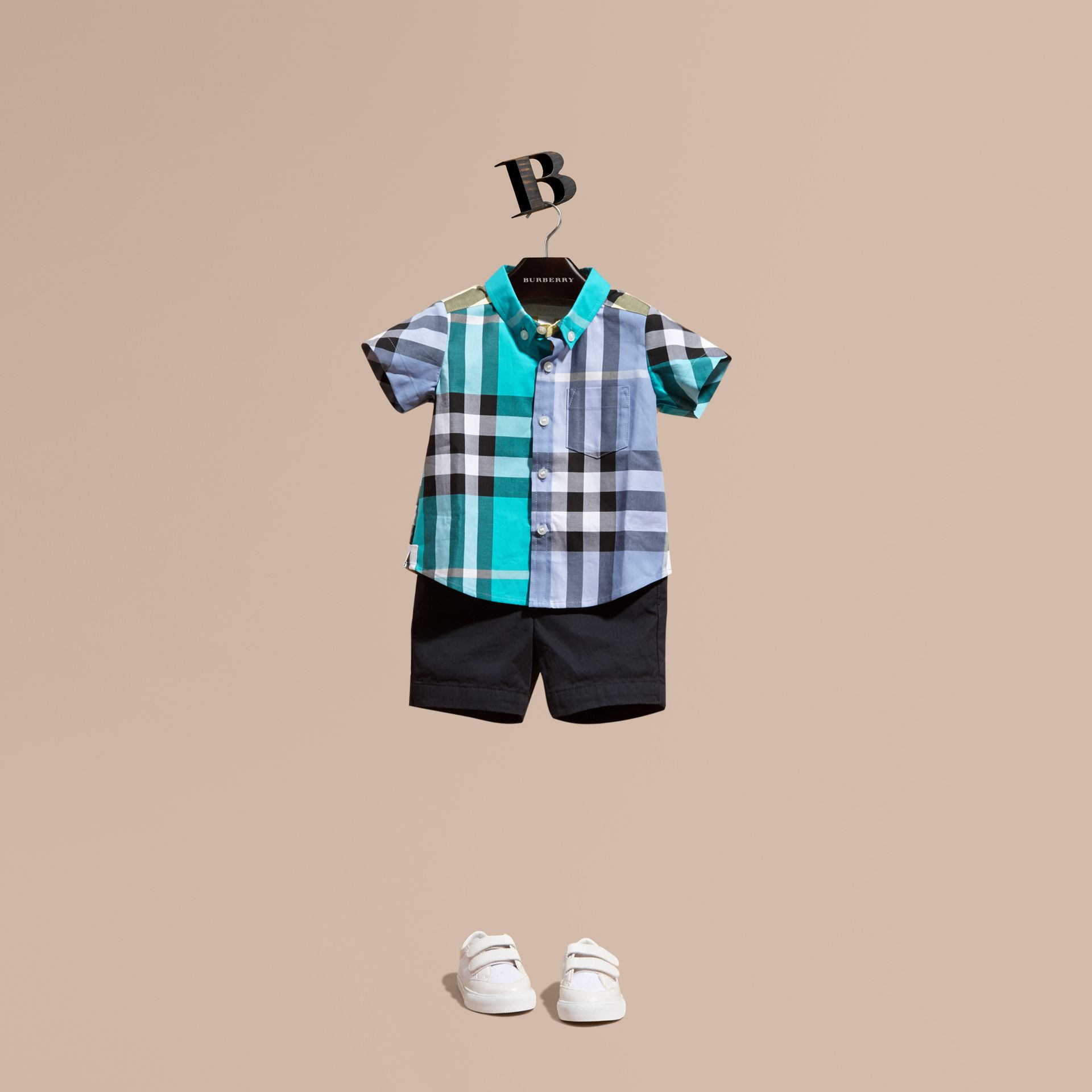 Short-sleeved Contrast Check Cotton Shirt Cyan Green - gallery image 1