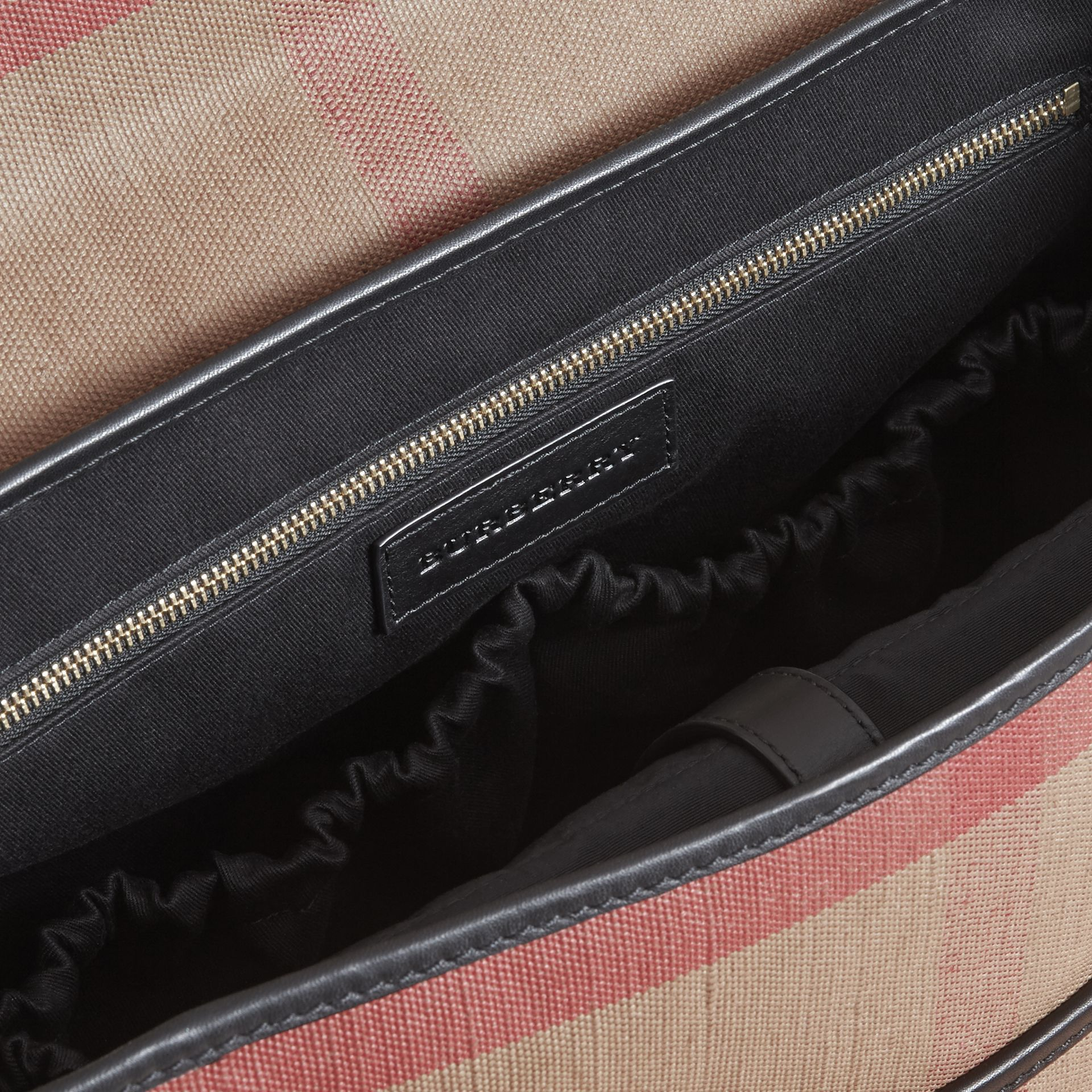 Canvas Check and Leather Baby Changing Shoulder Bag in Black - Children | Burberry United Kingdom - gallery image 3