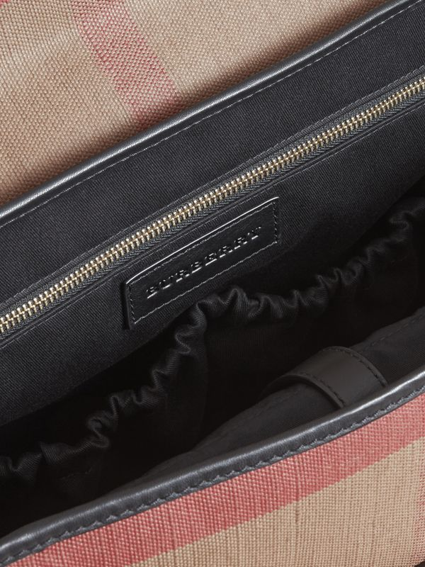 Canvas Check and Leather Baby Changing Shoulder Bag in Black - Children | Burberry - cell image 3