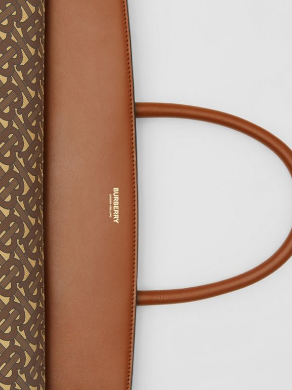 Extra Large Monogram E-canvas Society Top Handle Bag in Bridle Brown - Men | Burberry Hong Kong S.A.R - cell image 1