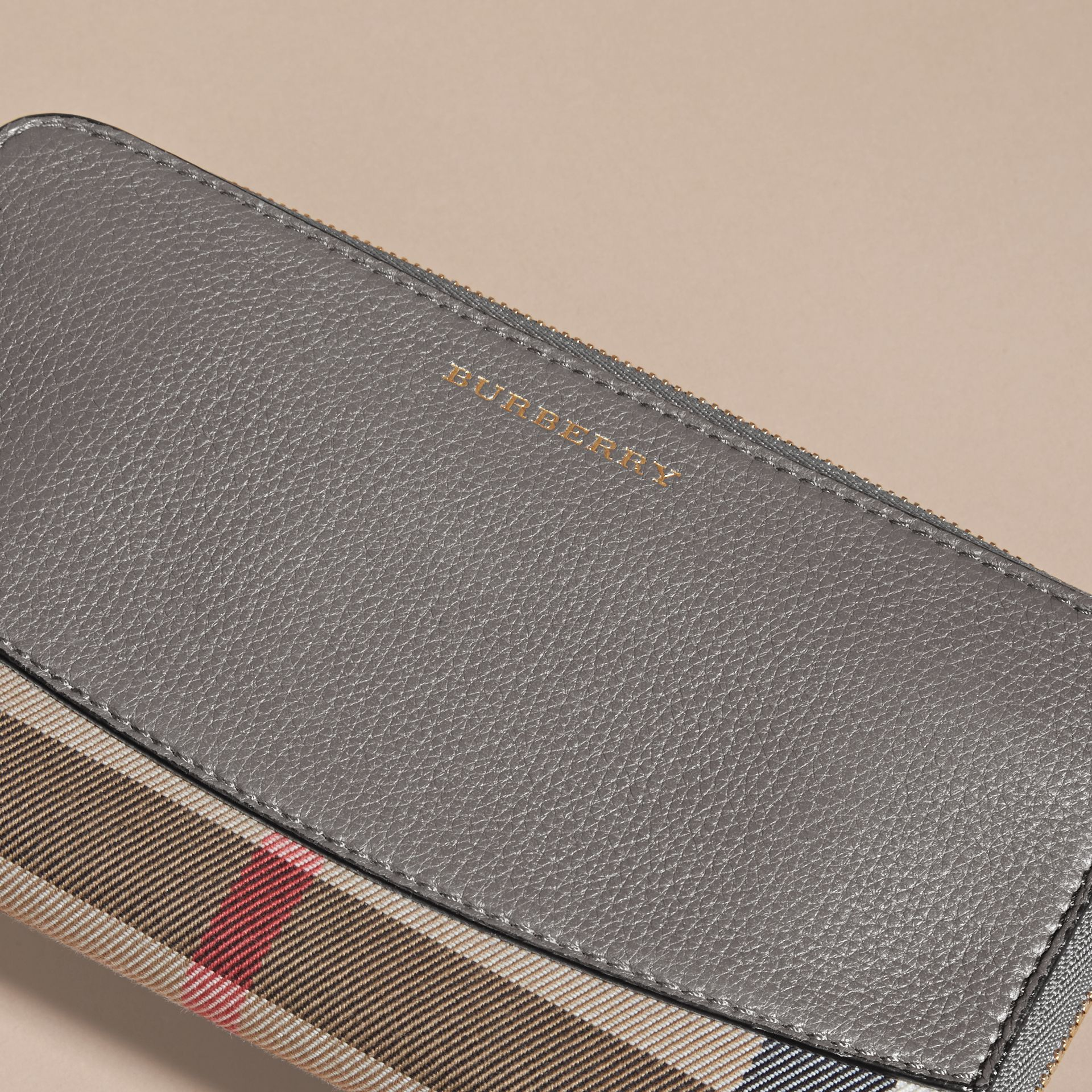 House Check and Leather Ziparound Wallet - gallery image 3