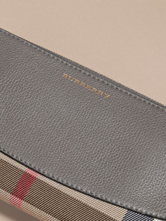 House Check and Leather Ziparound Wallet - cell image 2