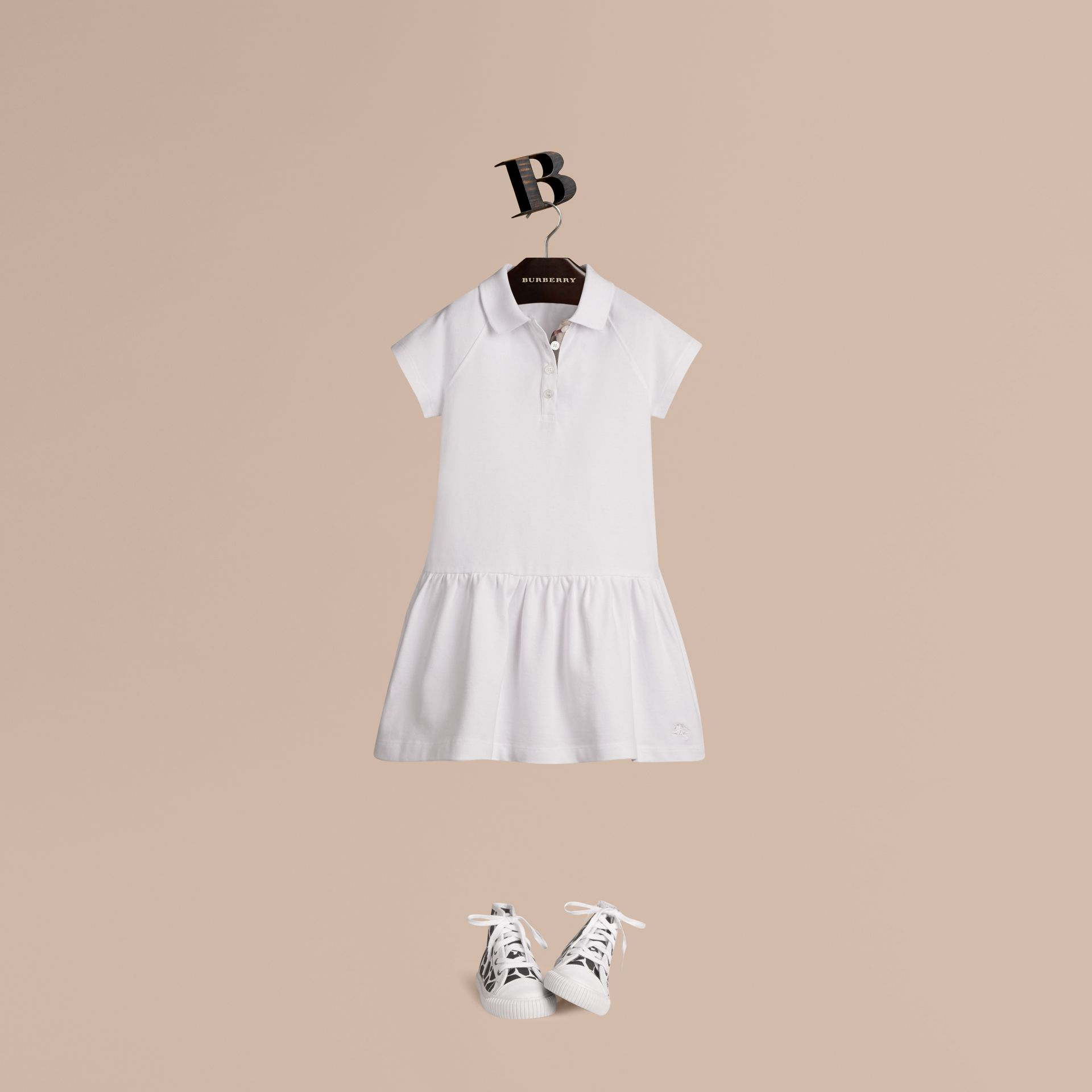 White Check Placket Cotton Blend T-Shirt Dress White - gallery image 1