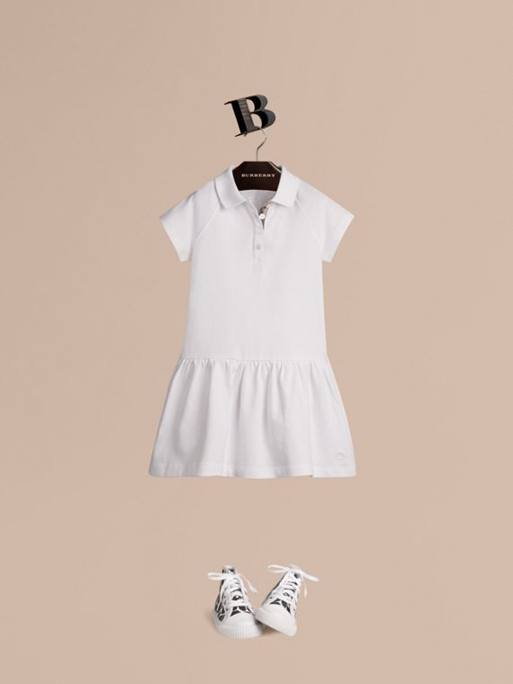 Check Placket Cotton Blend T-Shirt Dress White