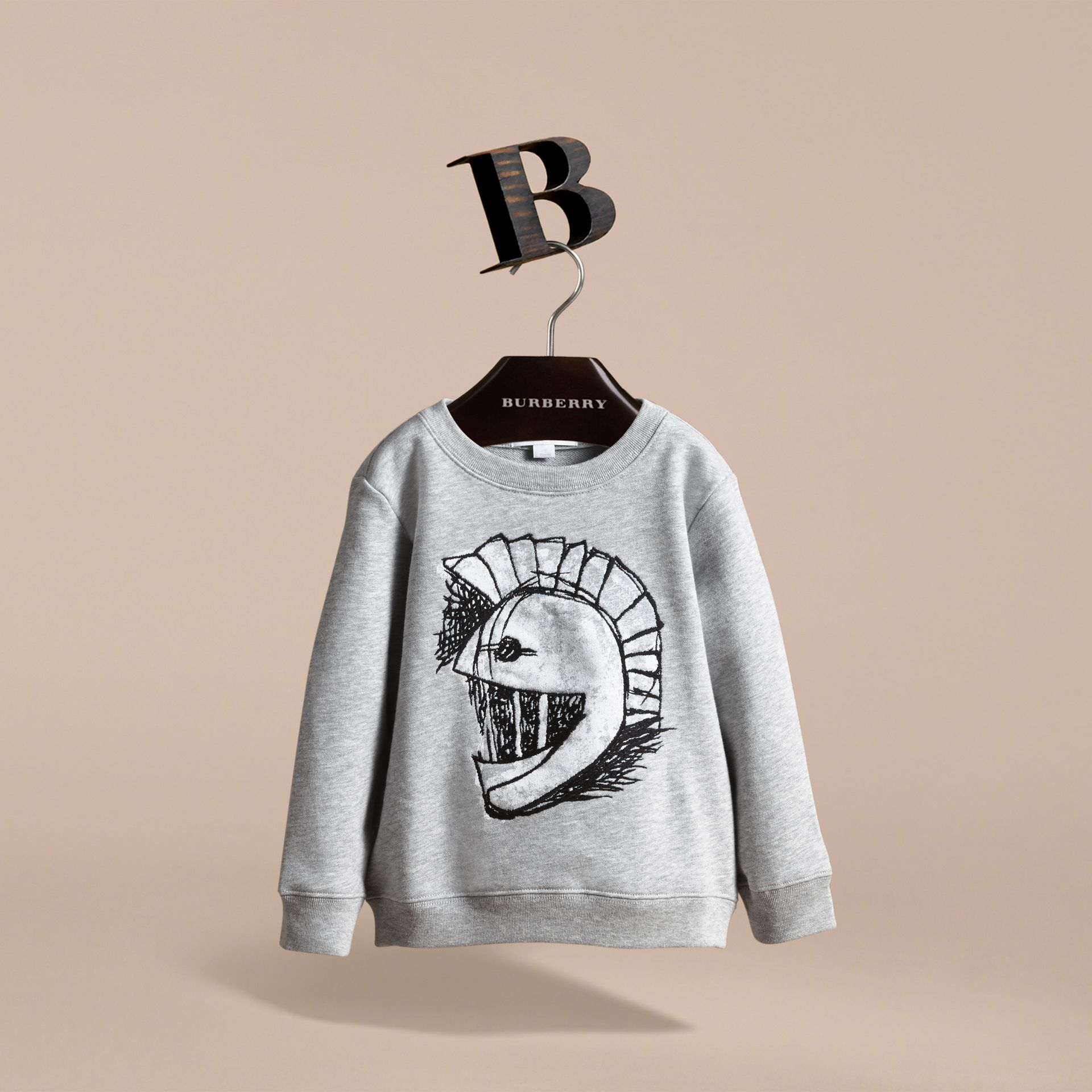 Pallas Helmet Motif Cotton Jersey Sweatshirt - Girl | Burberry - gallery image 3