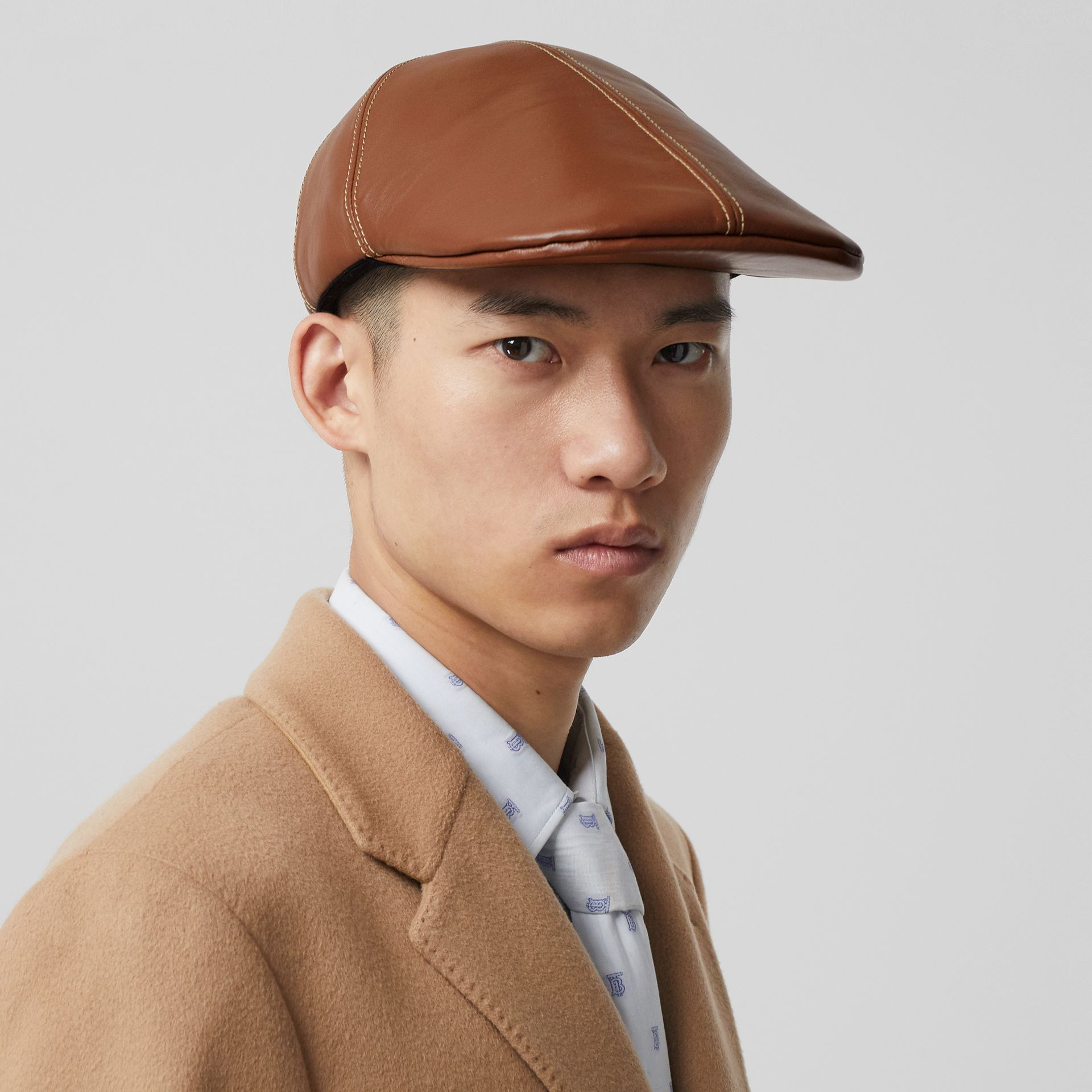 Lambskin Flat Cap in Tan | Burberry - gallery image 3
