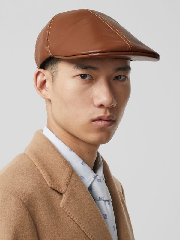 Lambskin Flat Cap in Tan | Burberry Canada - cell image 3