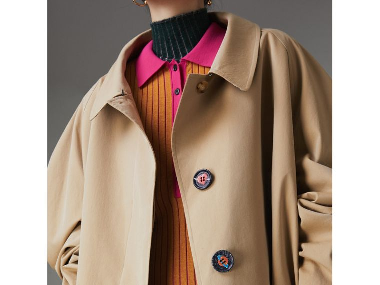 Painted Button Tropical Gabardine Car Coat in Honey - Women | Burberry United States - cell image 1