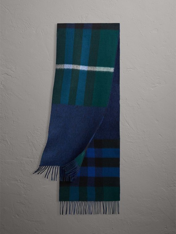 Reversible Check and Melange Cashmere Scarf in Dark Forest Green