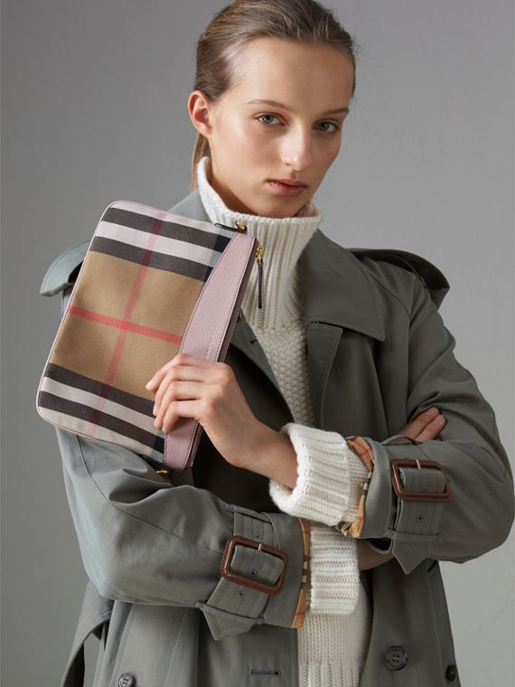 House Check and Leather Clutch Bag in Pale Orchid - Women | Burberry - cell image 3
