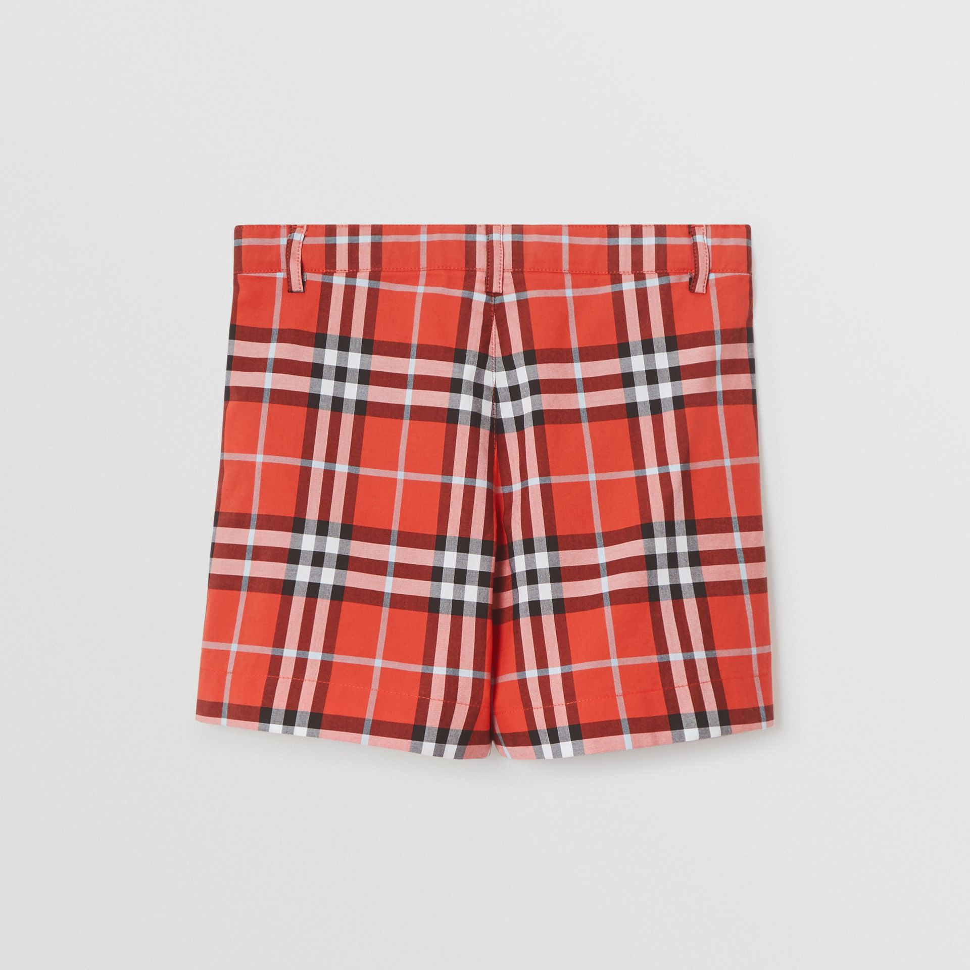 Check Cotton Tailored Shorts in Orange Red | Burberry United States - gallery image 3