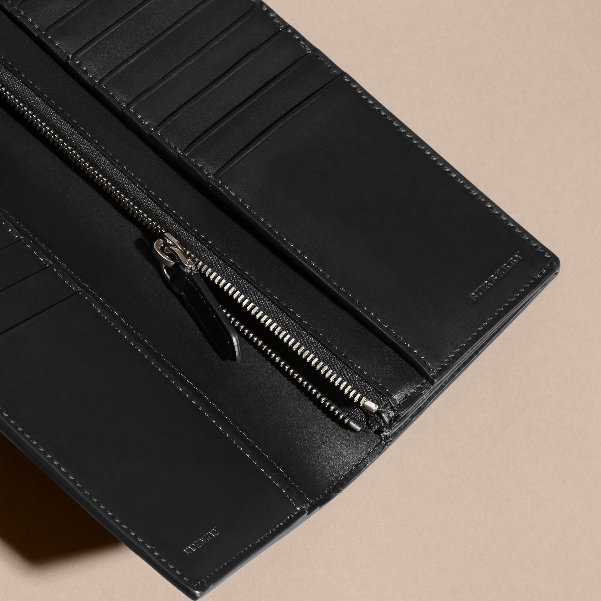 Black Patchwork London Leather Continental Wallet Black - gallery image 5