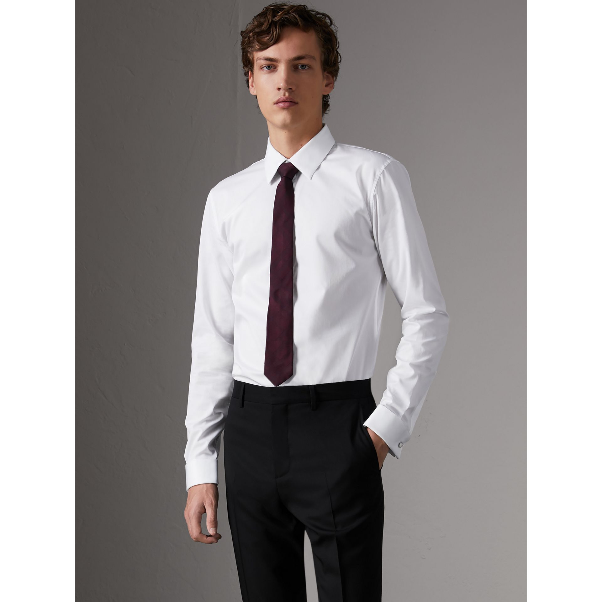 Slim Fit Double-cuff Cotton Dress Shirt in White - Men | Burberry United Kingdom - gallery image 0