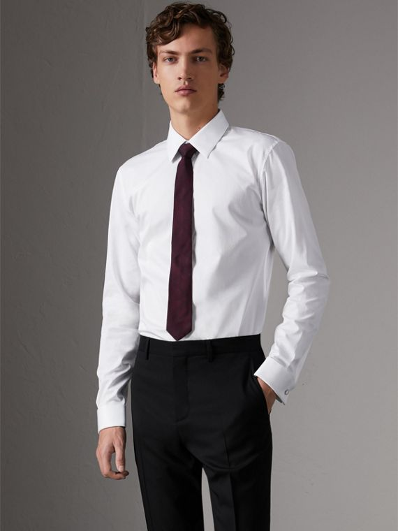 Slim Fit Double-cuff Cotton Dress Shirt in White