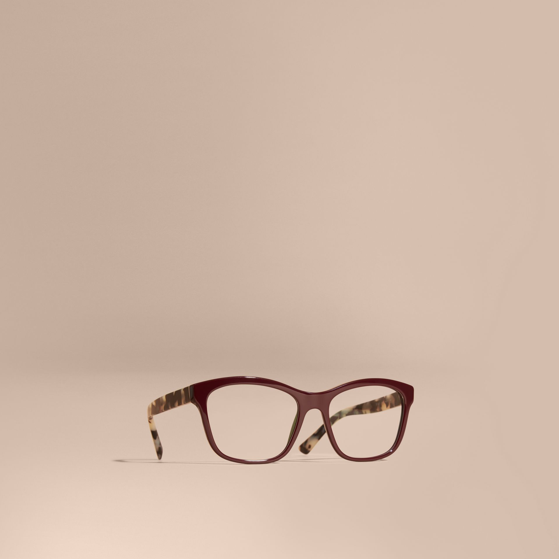 Oxblood Check Detail Square Optical Frames Oxblood - gallery image 1