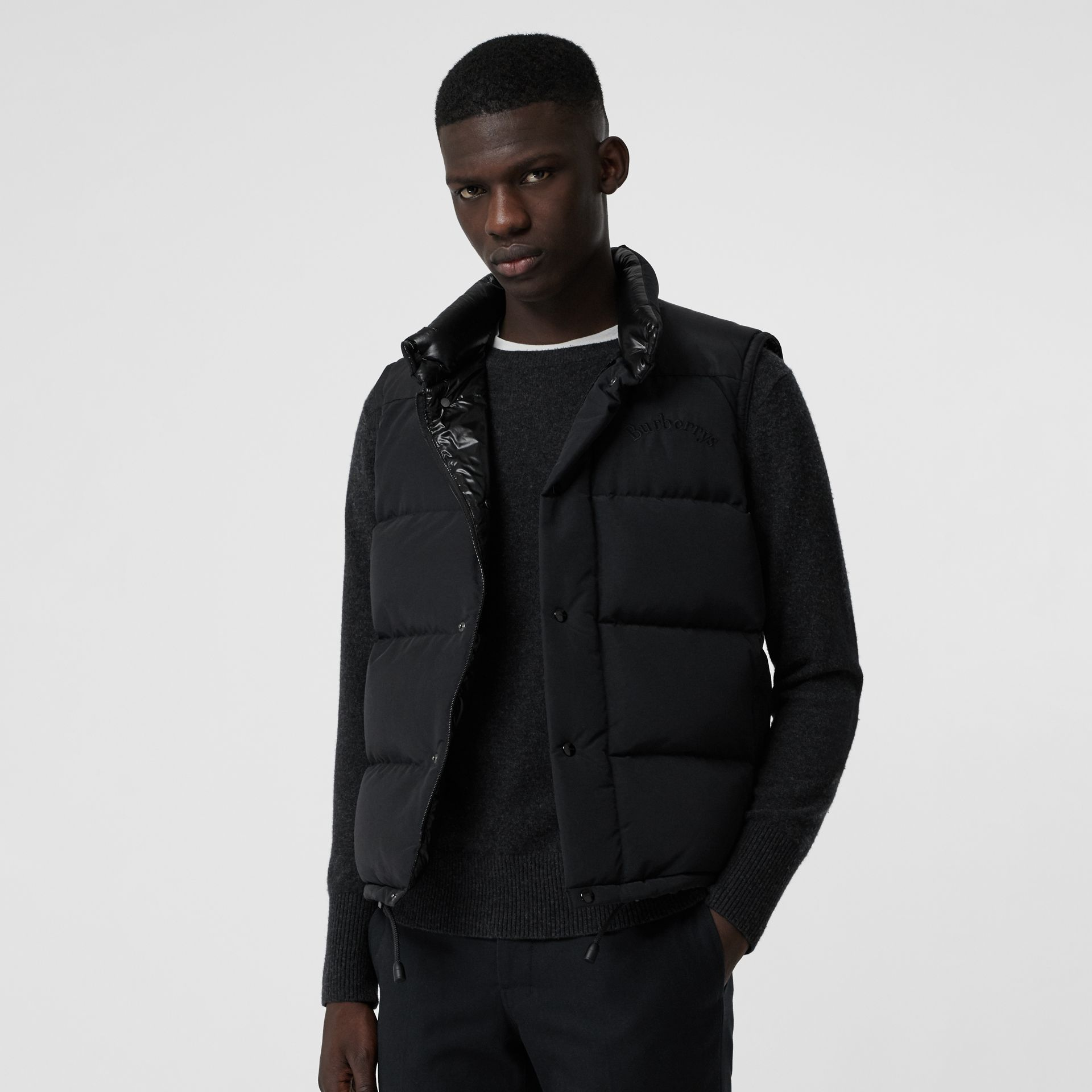 Embroidered Archive Logo Down-filled Gilet in Black - Men | Burberry United States - gallery image 4