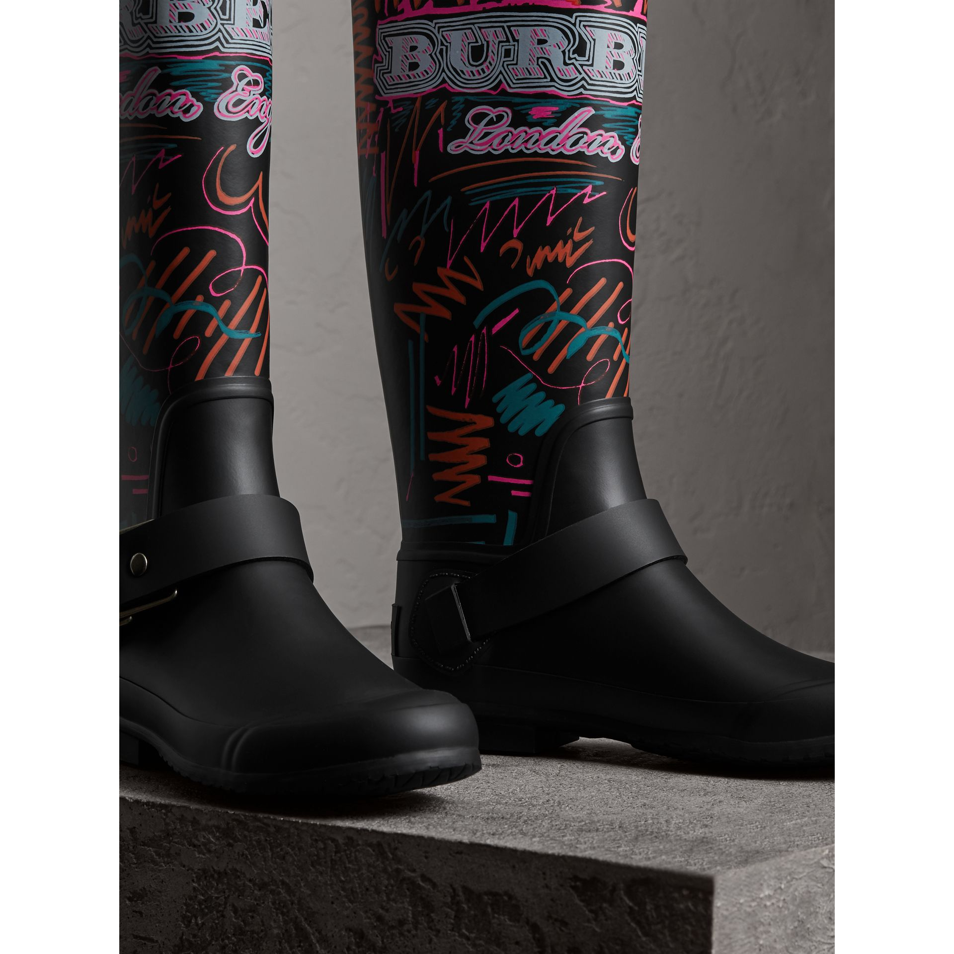 Doodle Print Rubber Rain Boots in Black - Women | Burberry United States - gallery image 4