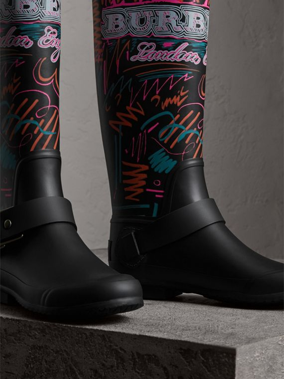 Doodle Print Rubber Rain Boots in Black - Women | Burberry United Kingdom - cell image 3