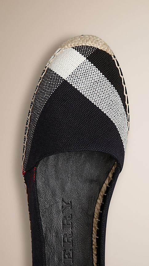 Navy check Check Jute Cotton Espadrilles - Image 4