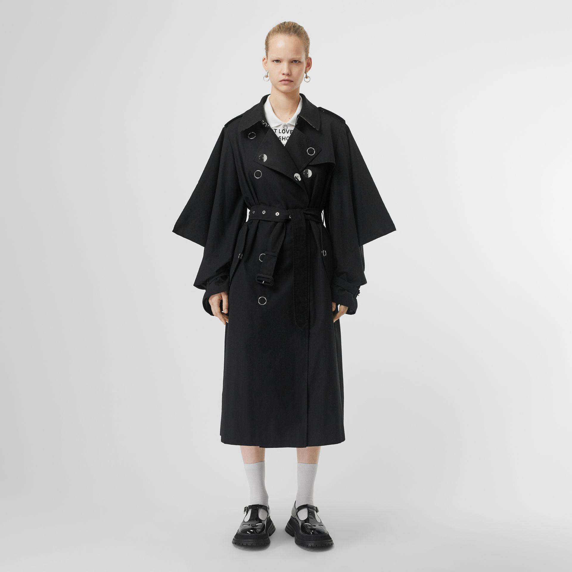 Cape-style Sleeve Cotton Gabardine Trench Coat in Black - Women | Burberry Singapore - gallery image 6