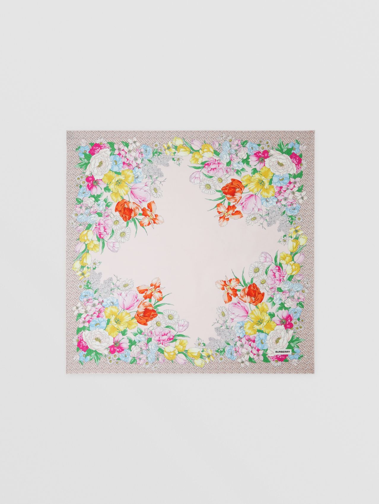 Floral and Monogram Print Silk Square Scarf in Pale Pink