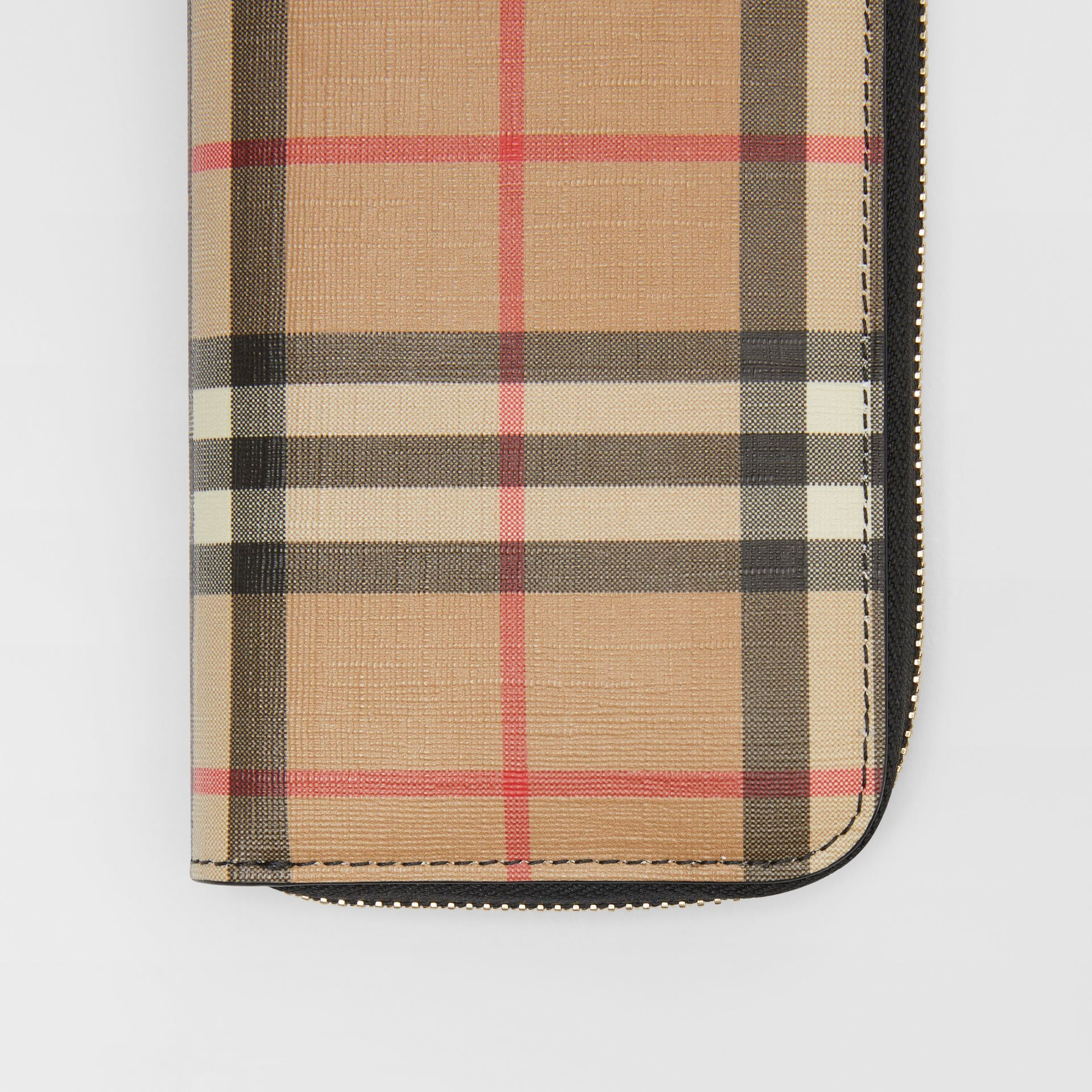 Vintage Check and Leather Ziparound Wallet in Black - Women | Burberry United Kingdom - gallery image 1