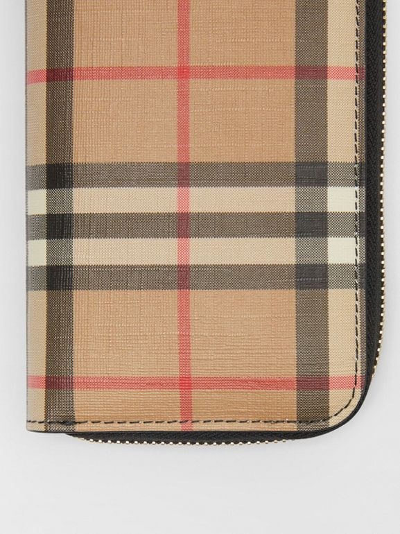 Vintage Check and Leather Ziparound Wallet in Black - Women | Burberry Canada - cell image 1