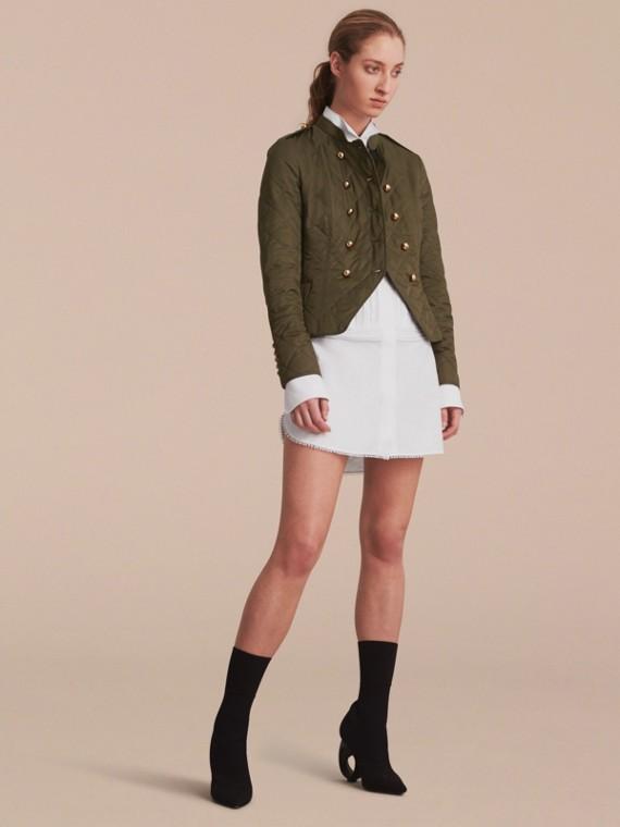 더블 브레스트 퀼팅 밀리터리 재킷 다크 올리브