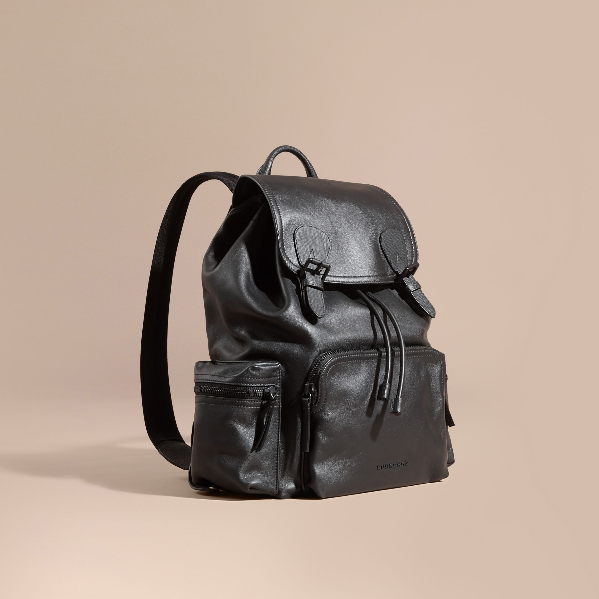 Black The Large Rucksack in Water-repellent Leather Black - gallery image 1