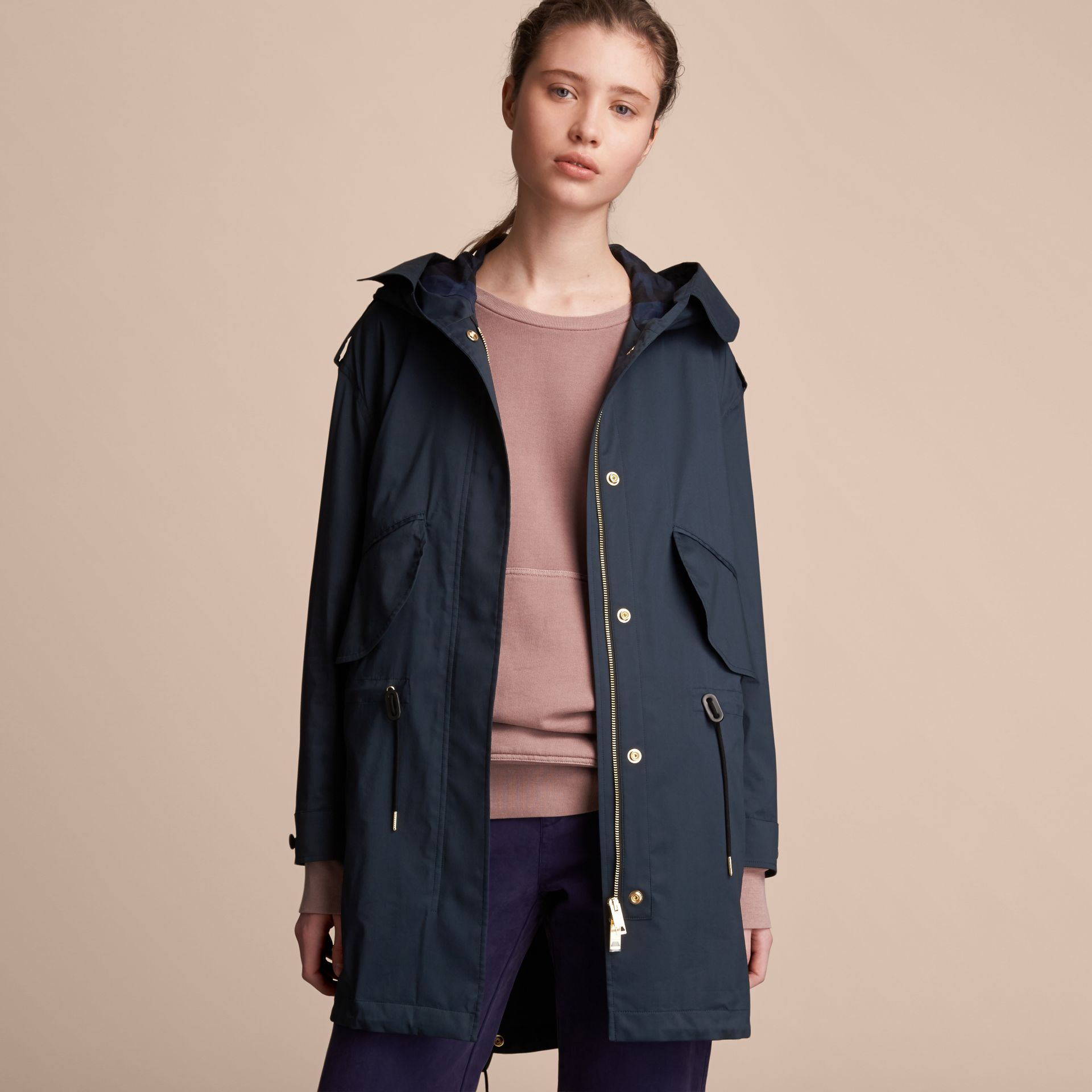 Hooded Water-resistant Parka in Navy - Women | Burberry - gallery image 7