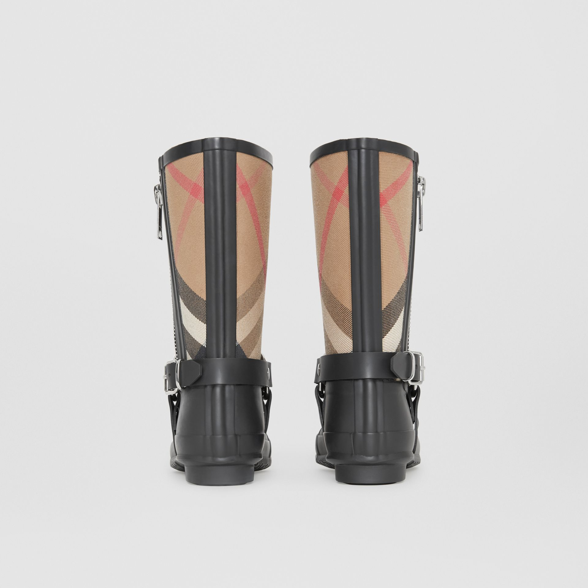 Buckle and Strap Detail Check Rain Boots in House Check/black - Women | Burberry Australia - gallery image 4