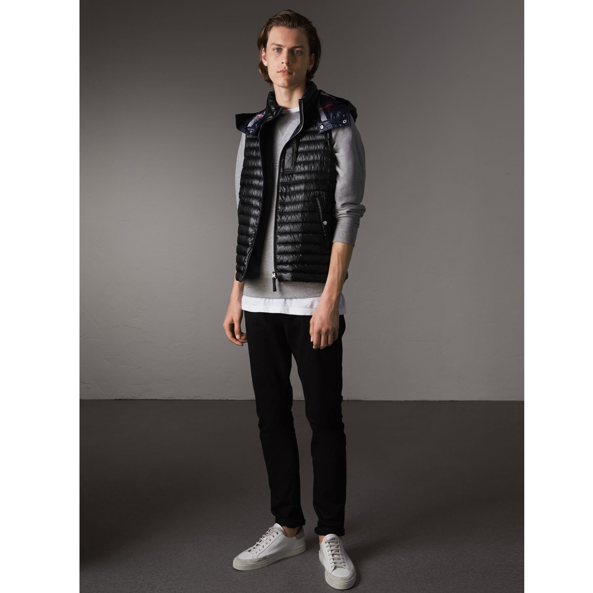 Detachable Hood Packaway Goose-down Gilet in Black - Men | Burberry United States - gallery image 1