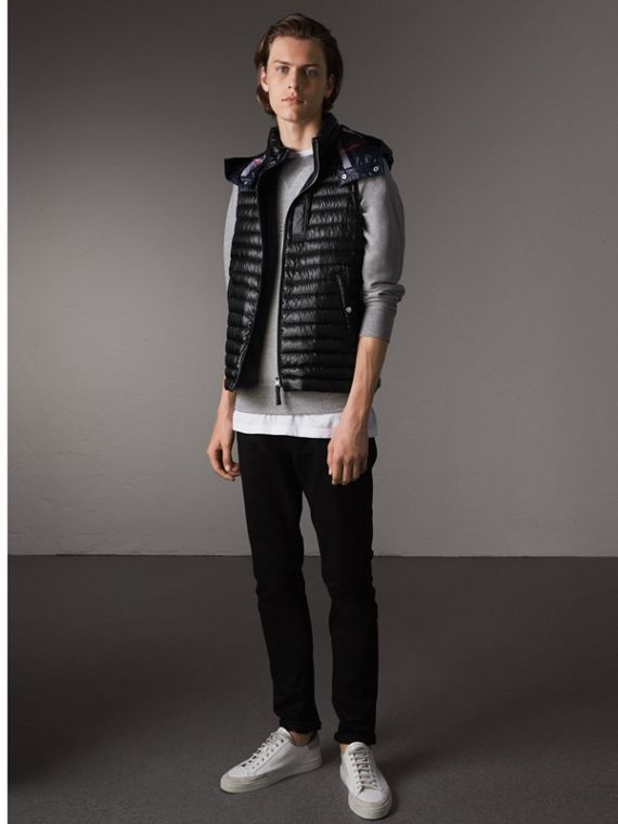 Detachable Hood Packaway Goose-down Gilet in Black - Men | Burberry