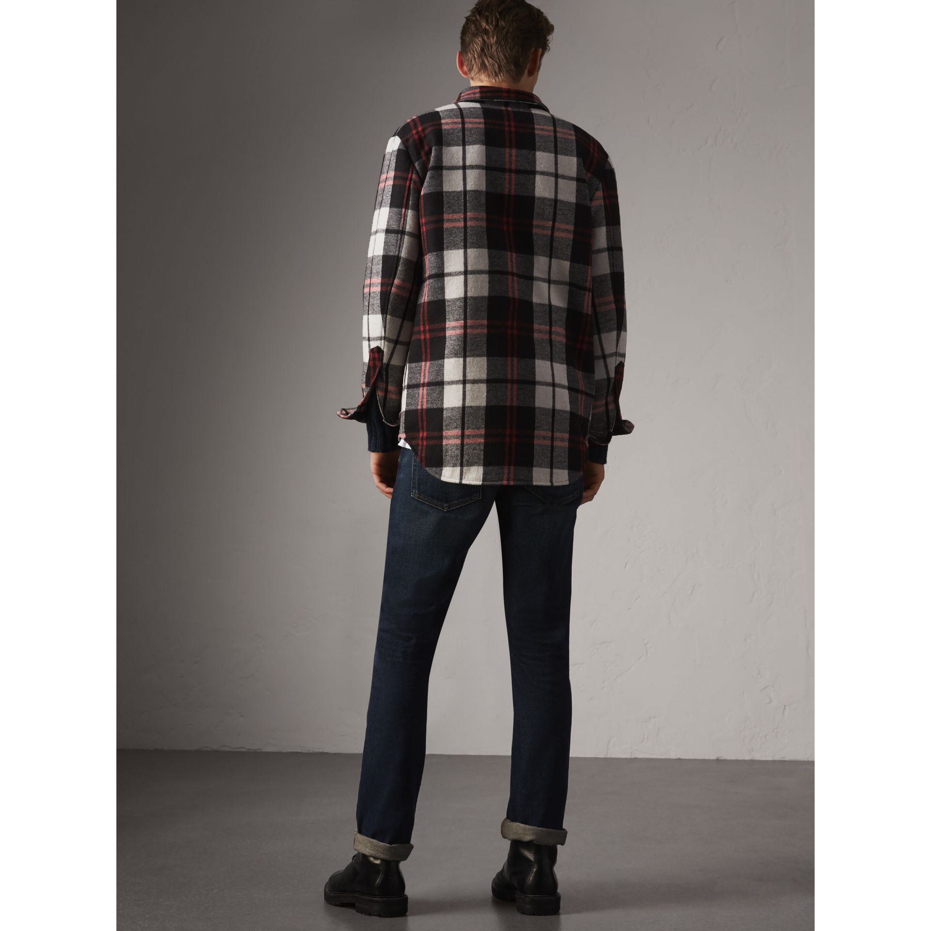 Quilt-lined Check Wool Cotton Blend Flannel Shirt in Black - Men | Burberry - gallery image 3