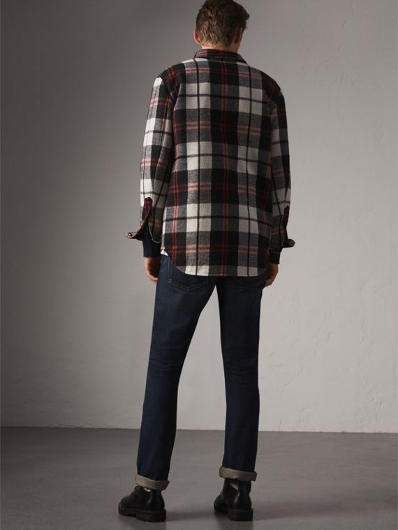Quilt-lined Check Wool Cotton Blend Flannel Shirt in Black - Men | Burberry - cell image 2